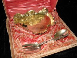 1890 ' S George Shiebler Sterling Silver Gilt Bowl & Servers Retailed By Birks photo