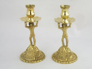 Pair Irish Silver Gilt Harlequin Tapersticks Dublin 1978 Fine Novelty Items photo