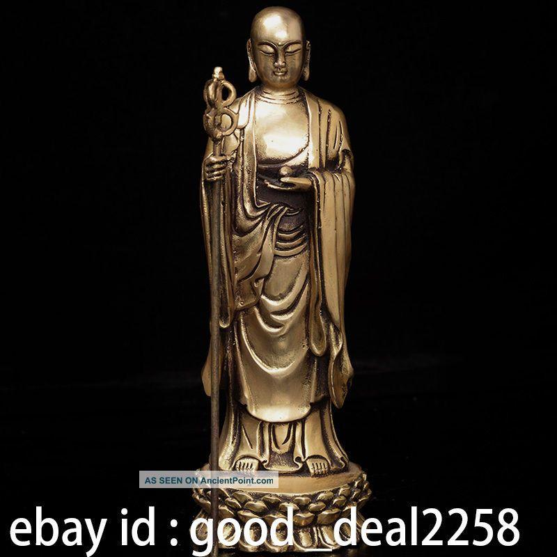 Oriental Vintage Chinese Brass Hand - Carved Statue - - - - Ksitigarbha Buddha photo