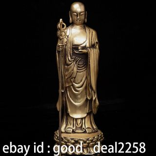 Oriental Vintage Chinese Brass Hand - Carved Statue - - - - Ksitigarbha photo