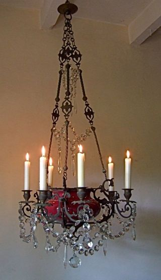 Fabulous Antique French C18th Bronze/ Crystal Chapel 6 Candle Chandelier photo