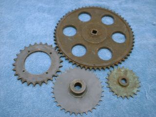 Vintage Cast Iron Industrial 4 Gear Sprockets Rustic Decor Steampunk Heavy photo