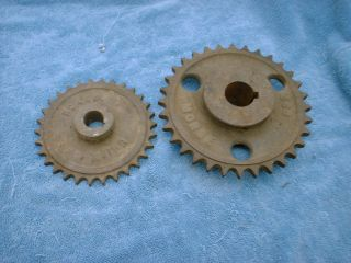 Vintage Cast Iron Industrial 2 Gear Sprockets Rustic Decor Steampunk Heavy photo