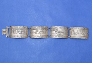 Vintage Silver Link Bracelet.  925 Sterling Indian Scenes Bolivia Tm10136 photo
