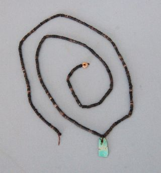 Prehistoric Anasazi Beads With Turuquiose Pendent photo