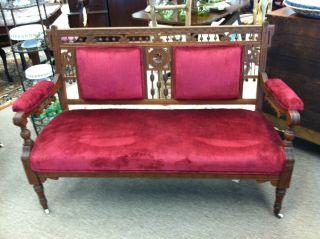 Gorgeous Antique Eastlake Walnut Sofa (nicely Carved Details) 57