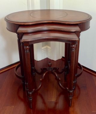 Antique Mahogany Nesting Stacking Tables Leather Top Kidney Shape photo