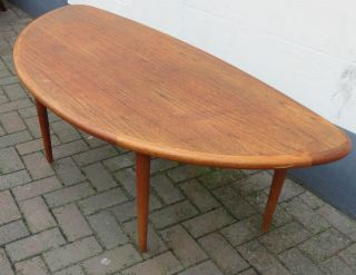 Rare Vintage Teak Convex Coffee Table By Johs.  Andersen - Danish 1960 ' S - Signed photo