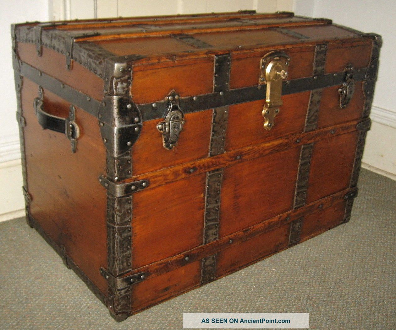 Antique Steamer Trunk Vintage Victorian Flat Top Old Wooden Travel Chest C1890 1800-1899 photo