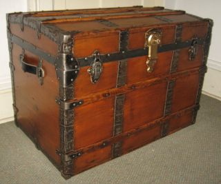 Antique Steamer Trunk Vintage Victorian Flat Top Old Wooden Travel Chest C1890 photo