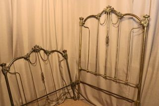 Authentic Antique Ornate Brass Iron Twin Headboard Footboard Will Ship photo