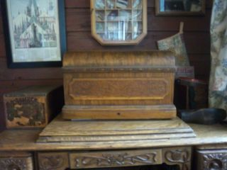 Antique Wheeler And Wilson Pedal Sewing Machine Coffin Top A, photo