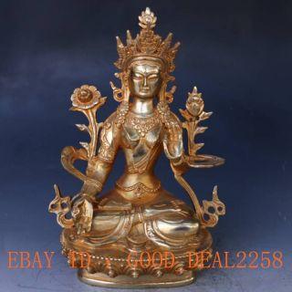 Chinese Copper Gilt Hand - Carved Tibetan Buddhism Statue - - - Whitetara photo