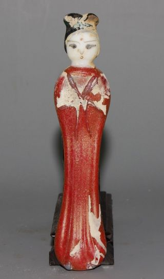 Ancient Chinese Peking Glass Carved Girl Shape Statue photo