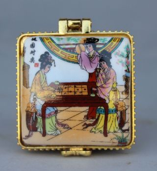 Chinese Porcelain Palace Belle Lady Square Jewellery Casket Jewelry Jewel Box photo
