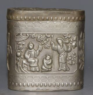 Ancient Chinese Cupronickel Carved Cupronickel Box photo