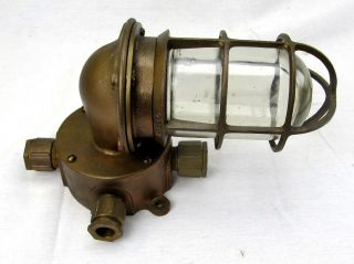 Brass Explosion Proof Industrial Light Fixture Cage Glass Junction Box R&s Ny photo