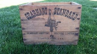 Antique Gearhart Standard Knitting Machine Crate Vintage Wood Box Very Rare photo
