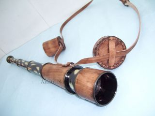 Brass Telescope Spyglass,  Leather Overlay 18