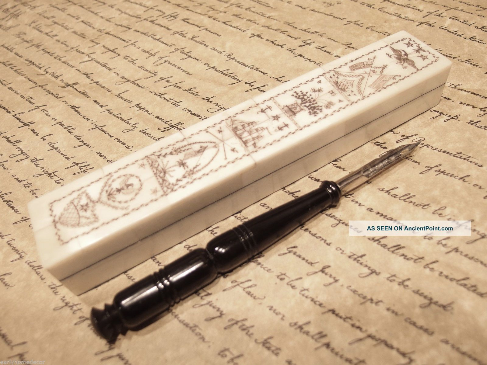 Antique Style Folk Art Americana Scrimshaw Bone & Wood Pen Box W Horn Dip Pen Scrimshaws photo
