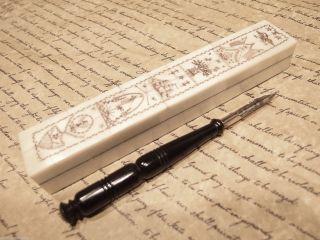 Antique Style Folk Art Americana Scrimshaw Bone & Wood Pen Box W Horn Dip Pen photo