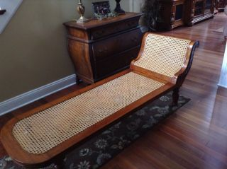 Antique Fainting Cane Chaise Lounge Sofa photo