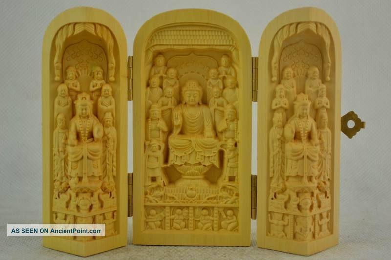 Rare Old Boxwood Carving Buddha Prayer Peace & Good Healthy Exorcism Statue Buddha photo