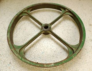 Antique Vintage Big Metal Industrial Gear Wheel Green Machine Age Repurpose photo