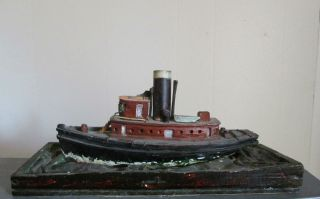 Antique Old Early 1900 ' S Wooden Tug Steamer Boat Folk Art Carved Hand Made Ship photo