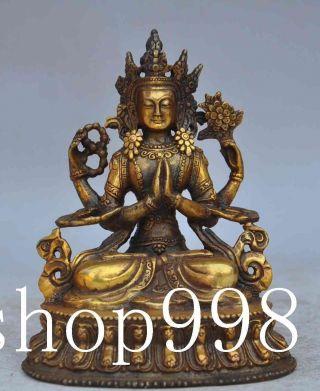 Tibet Buddhism Fane Bronze Gilt 4 Arm Tara Kwan Yin Bodhisattva Buddha Statue photo