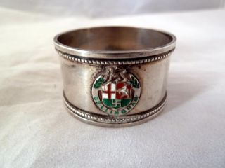 Solid Silver Napkin Ring With Enamelled Bellingham Bowling Club Crest 1937 photo