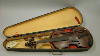 Antique Violin Restored By B F Oswald Of Ny In 1922 With Bow &gsb Case Needs Tlc photo