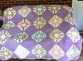Handquilted Vintage Lavender Star Quilt Circa 1900s photo