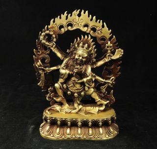 Tibet Brass Buddhist Collect Vajra 6 Arms Mahakala Buddha Statue Protect Pray photo