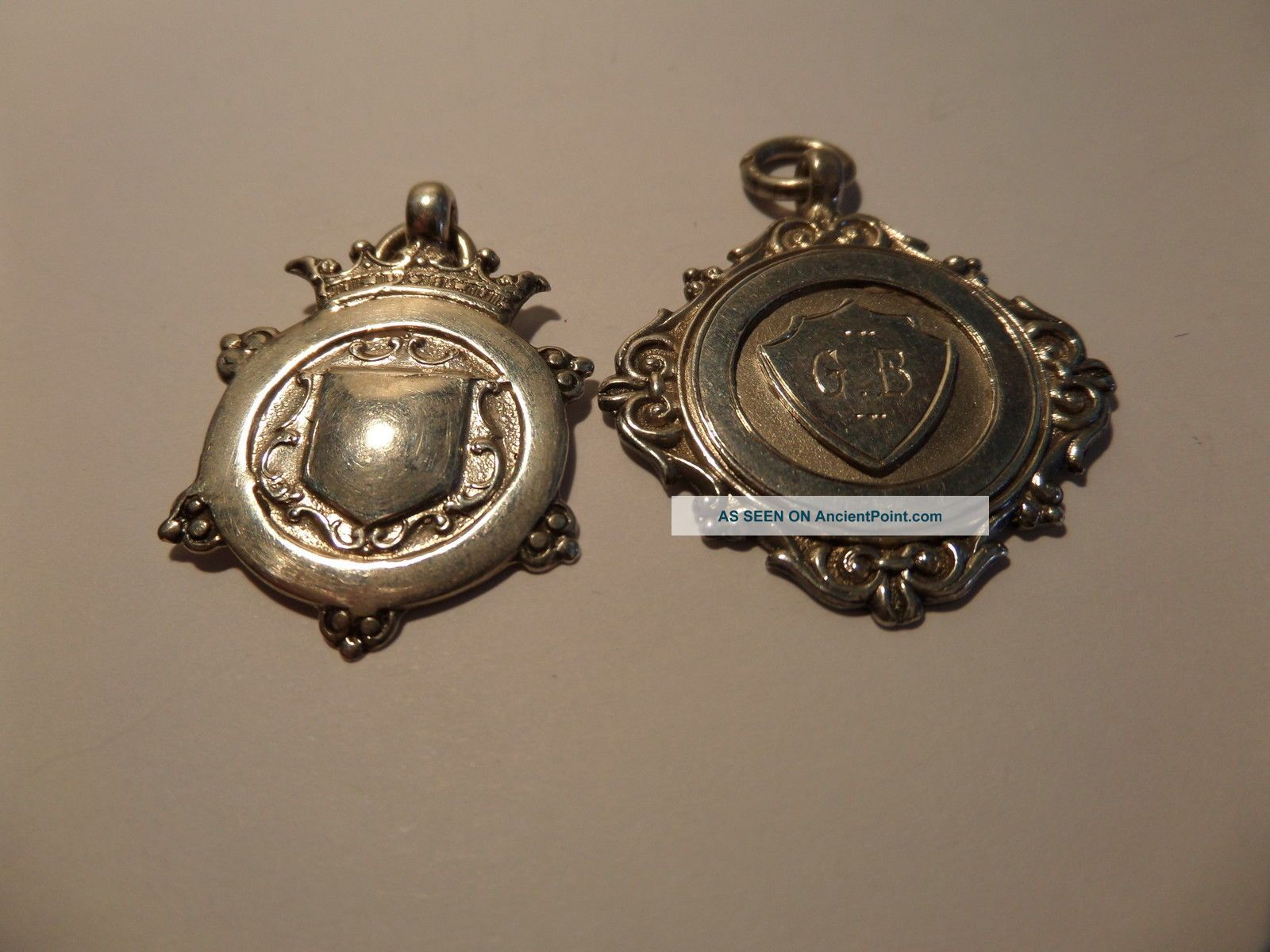 2 Solid Silver Sport Medal, Pocket Watches/ Chains/ Fobs photo