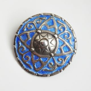 Rare Scottish Iona Silver & Blue Enamel Shield Brooch By Alexander Ritchie C1939 photo
