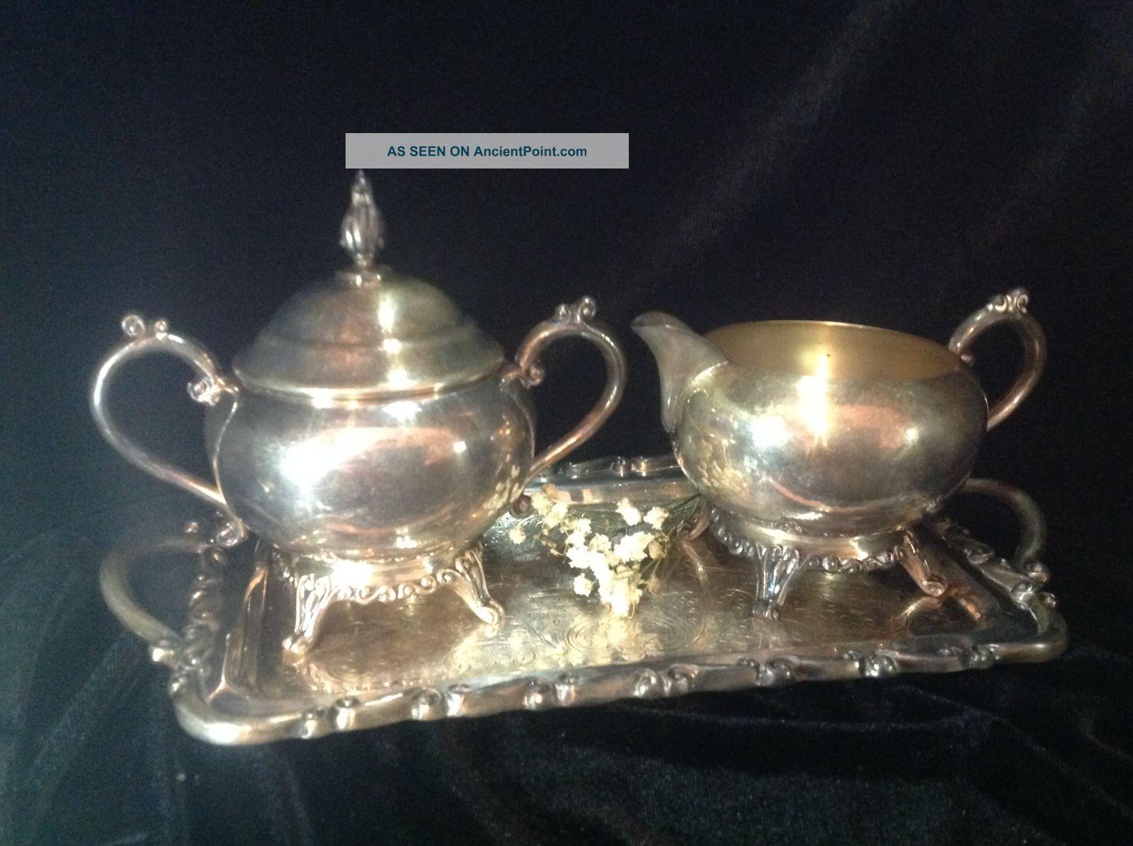 Antique Victorian Creamer Sugar F.  B.  Rogers Silver Co.  1883 Pattern 2391 Creamers & Sugar Bowls photo