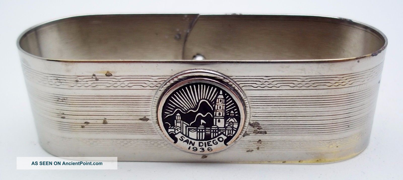 Antique San Diego Silver Plate Napkin Ring 1936 Napkin Rings & Clips photo