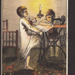 1800 ' S Singer Sewing Machine Toy Horse Doll Old Victorian Advertising Trade Card photo