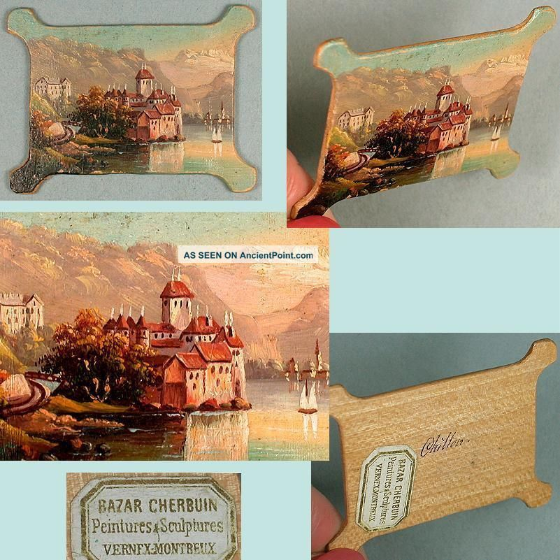 Fab Antique Hand Painted Wood Thread Winder Chillon Castle Circa 1890s Other photo