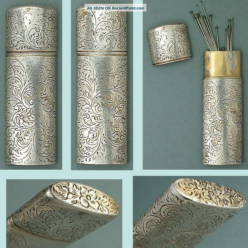 Antique Georgian Sterling Pin / Needle Case English Circa 1790 - 1800 Needles & Cases photo