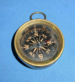 Vintage Old Collectible Brass Round Hand Magnetic Small Pocket Compass India photo