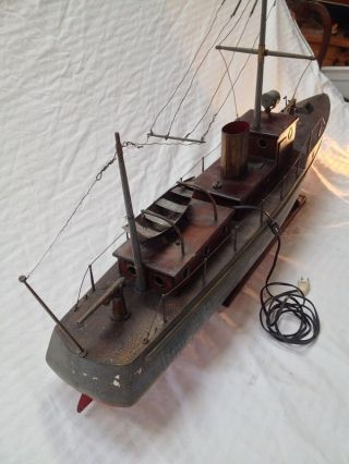 Antique Historical Maritime Military Battleship Wood Ship Folk Art Model Boat photo