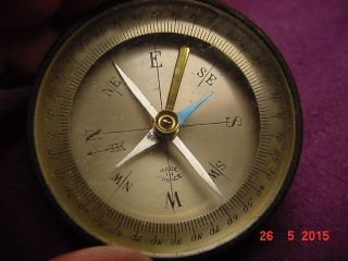 Vintage French Pocket Compass Made In France Brass photo