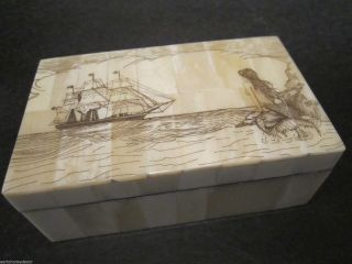 Antique Style Folk Art Mermaid Scrimshaw Bone & Wood Trinket Box photo