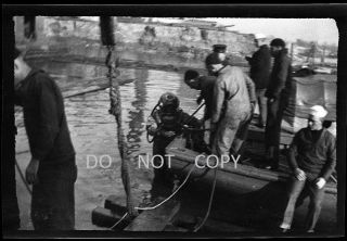 N729 Three C.  1910 ' S - 20 ' S Negatives.  U.  S.  Navy Deep Sea Diver With Diving Helmet photo