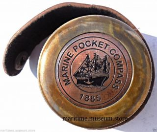Vintage Robert Frost Poem Brass And Copper Compass With Leather Case. photo