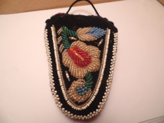 Early 1900 ' S Indian/native American Trade Bead Pin Cushion,  Flower Pattern Wis. photo