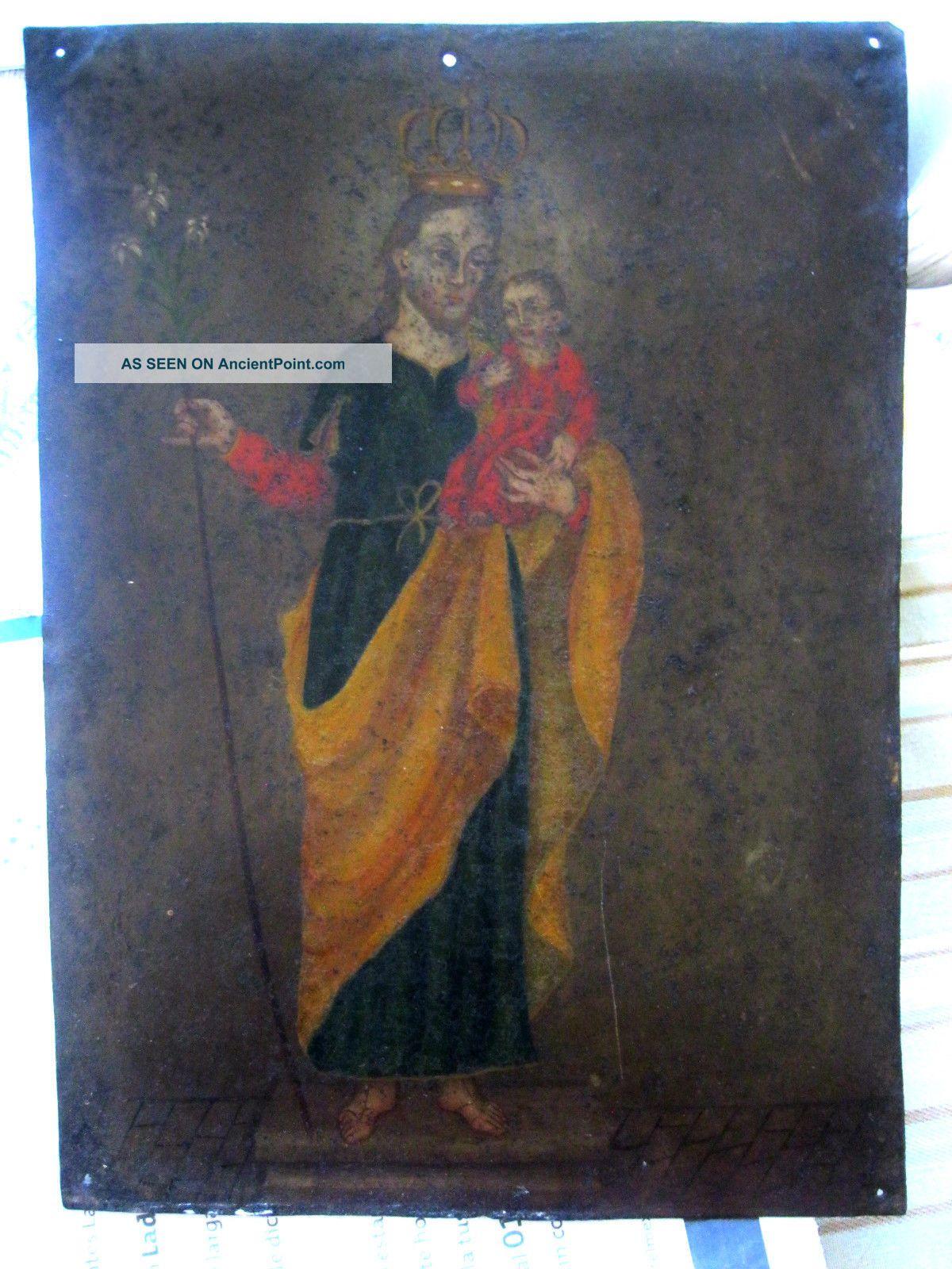 Antique Retablo On Tin With The Image Of Saint Joseph W/ Christ Child Latin American photo
