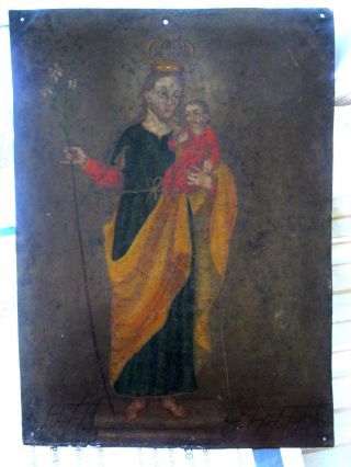 Antique Retablo On Tin With The Image Of Saint Joseph W/ Christ Child photo